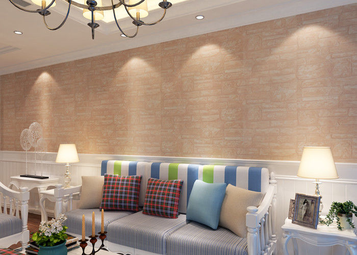 Soft Non - Woven 3D Texture Brick Effect Wallpaper For Living Room Decoration , CSA Listed