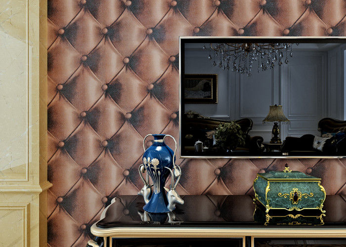 3D Effect Embossed Vinyl Wallpaper Leather Pattern for TV Background