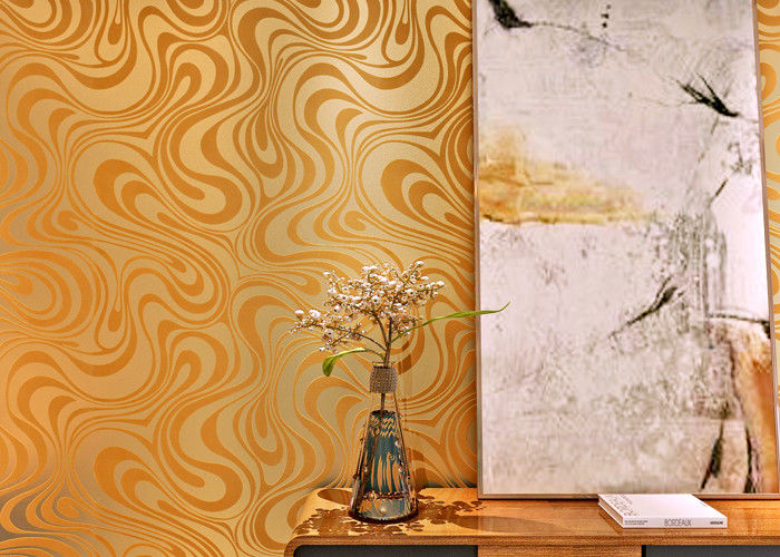 Custom Removable Contemporary Living Room Wallpaper With Golden Curve Design