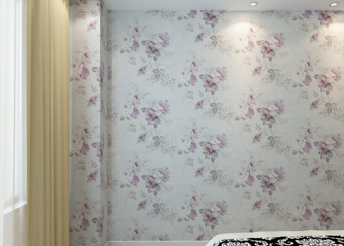 PVC Embossed Wall Covering , Floral Interior Decorating Wallpaper with Country Style