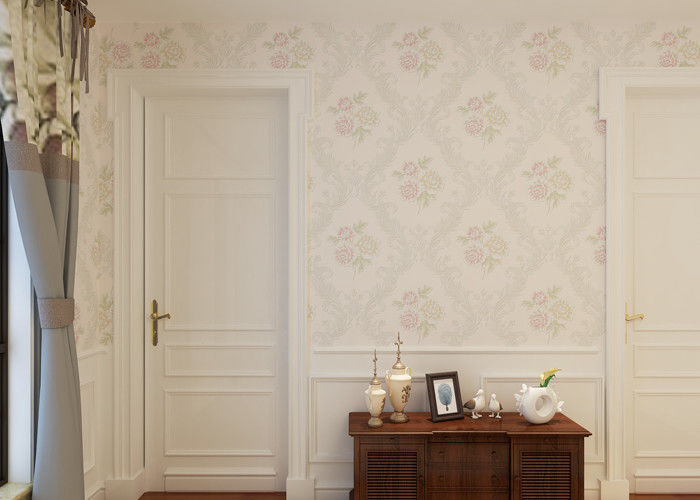Beige Floral Pattern Non Woven Wallcovering , Interior Decorating Wallpaper SGS CSA