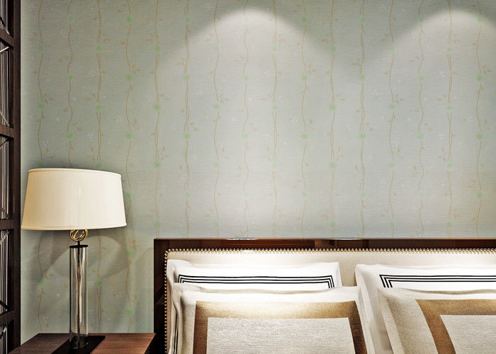 Light Green Washable Vinyl Wallpaper With Peel And Stick Embossed Surface , Strippable Type