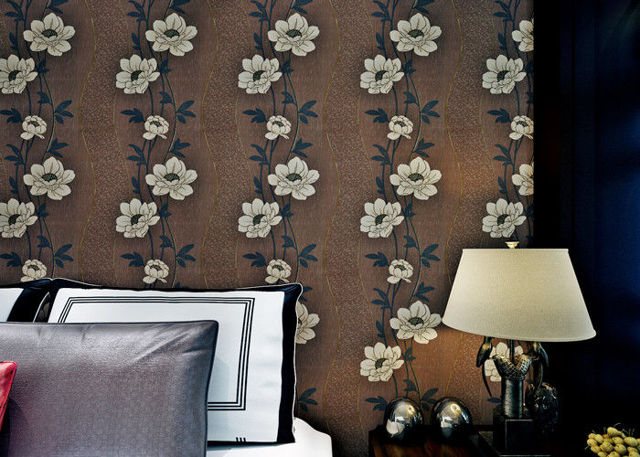 Floral Interior House Decoration Wallpaper With Non Woven Materials , Brown Color