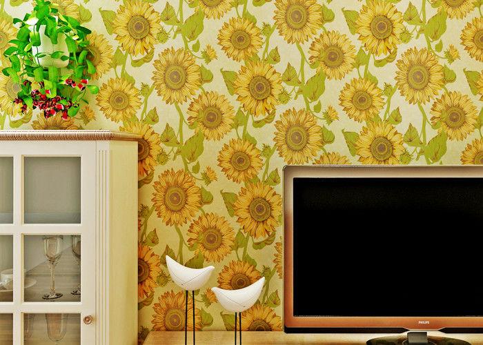 Sonnenblumen Muster Wohnzimmer Moderne Tapete Mit Prägeartiger Oberfläche,  Goldene Farbe
