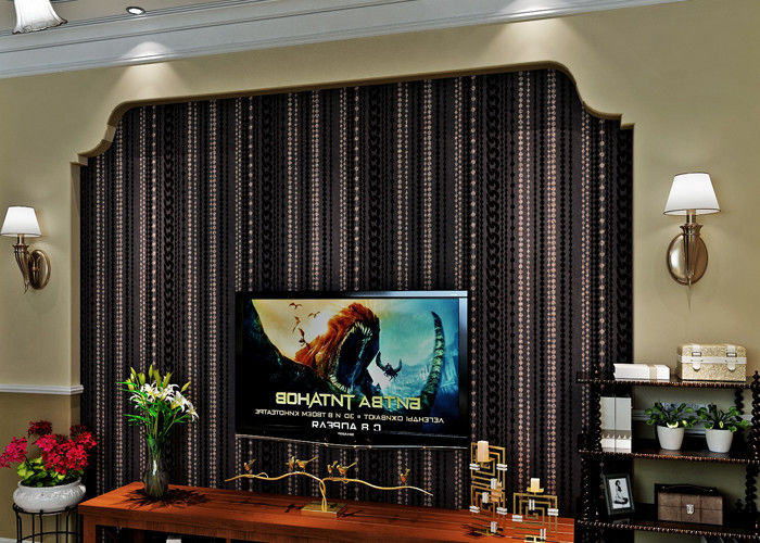 Administration Luxury Black Velvet Flock Wallpaper Soundproof With Modern Style