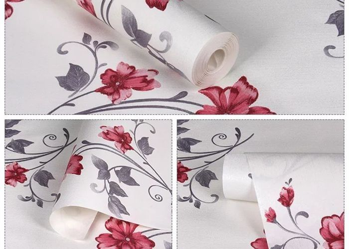Red Flower Self Adhesive Wallpaper / Chinese Style Wallpaper For Home Interiors