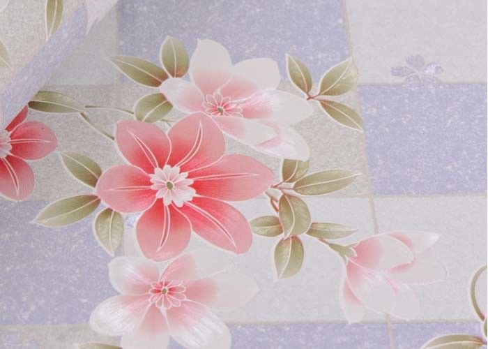 Removable Large Floral Print Wallpaper / Country Flower Wallpaper Washable ,0.53*10m/ roll