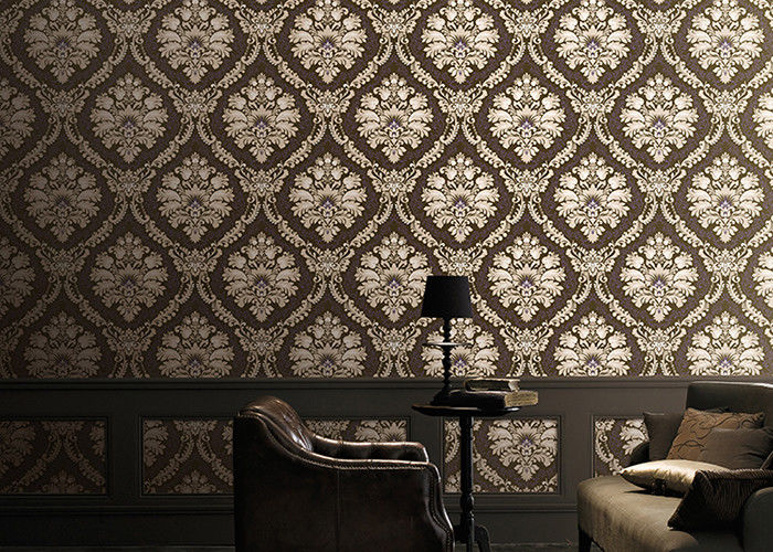 Classical 1.06m Home Decoration Wallpaper Korean Style With Damsk Pattern , Eco Friendly