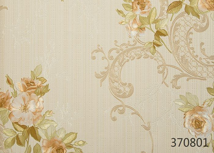 Modern Style Vinyl Embossed Wallpaper For Restaurant Decoration , Floral Pattern