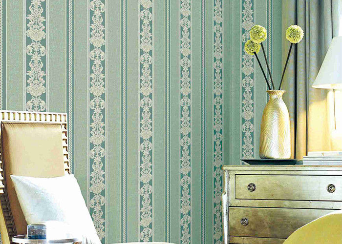 Washable Classic Striped Floral Wallpaper , Vinyl Material Durable Wall Coverings