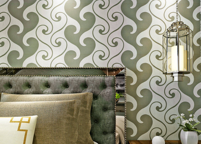 0.53*10m Velvet Textured Wallpaper , White And Green Velvet Wallpaper For Home Decoration