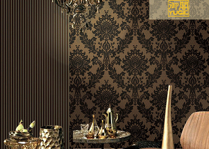 Floral Soundproof Thick Velvet Damask Wallpaper , Non Woven Wallcovering European Style