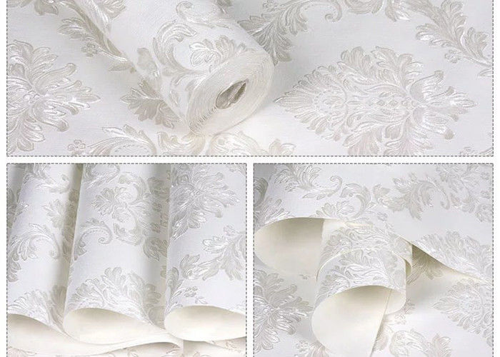 Floral No Glue White Self Adhesive Wallpaper Removable Wall Coverings
