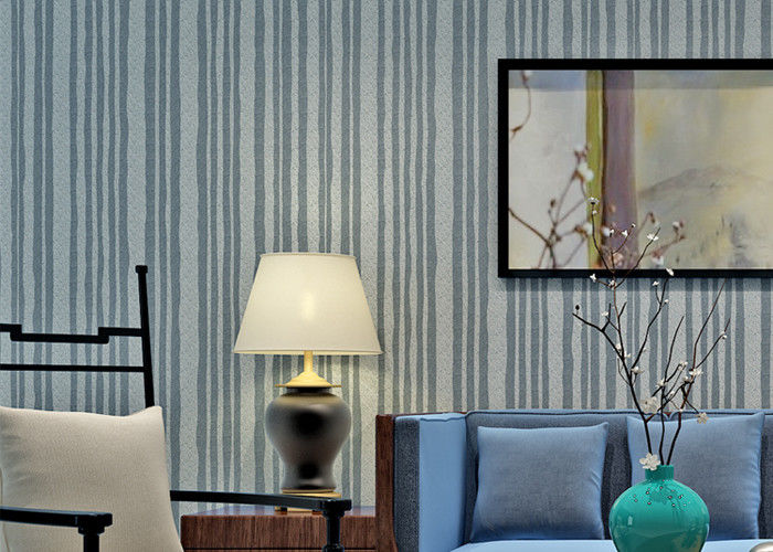 Modern Style Mica Stone Wallpaper Heat Proof With Nature Material , Stripes Pattern