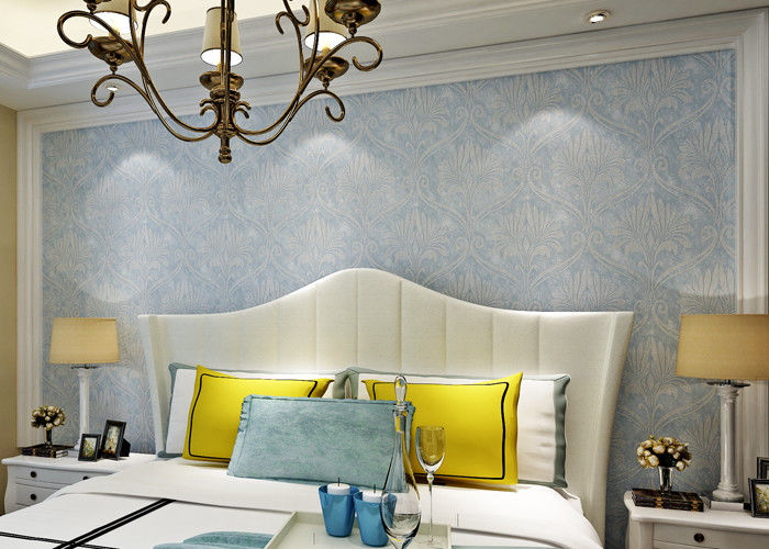 Soundproof Removable European Style Wallpaper , Blue 3d Silver Wallpaper