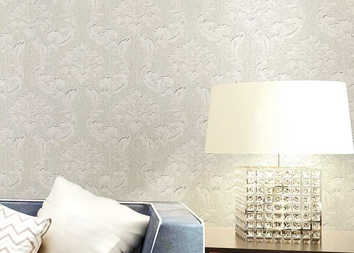 Floral Wet Embossed Non - Woven European Style Wallpaper For Study Room