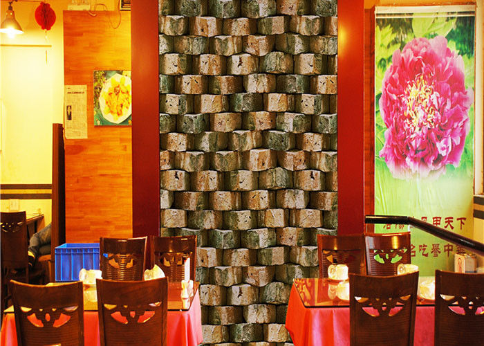 Eco - Friendly Embossed 3d Brick Effect Wallpaper For Restaurant Background