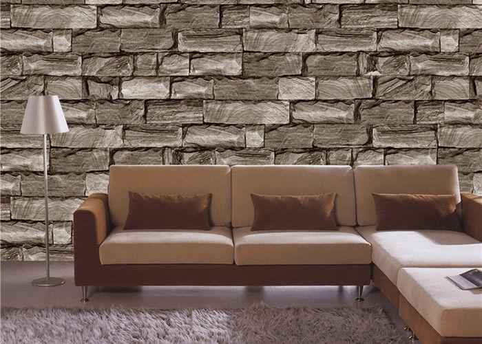 Brown 3d effect wallpaper for walls , Lobby 3d stone effect wallpaper