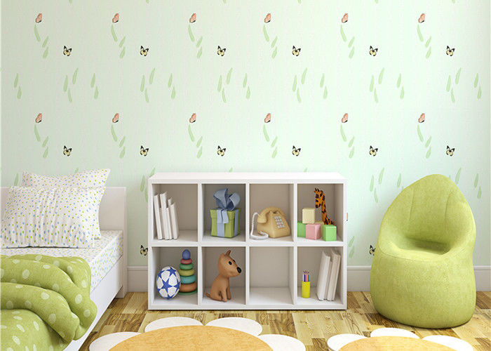 Non-Woven Eco-Friendly Kids Bedroom Wallpaper Butterfly and Green Plants Pattern