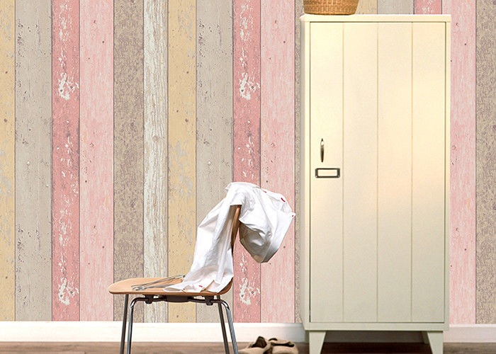 Colorful Wood Embossed Vinyl Wallpaper With Foam Surface Treatment , Vertical Stripe Type