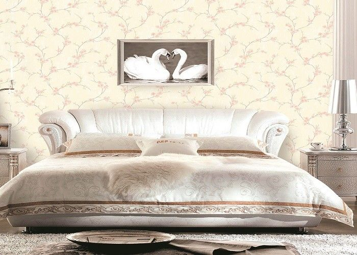 Low Flammability Soundproof PVC Contemporary Wall Coverings Flower Pattern Wallpaper