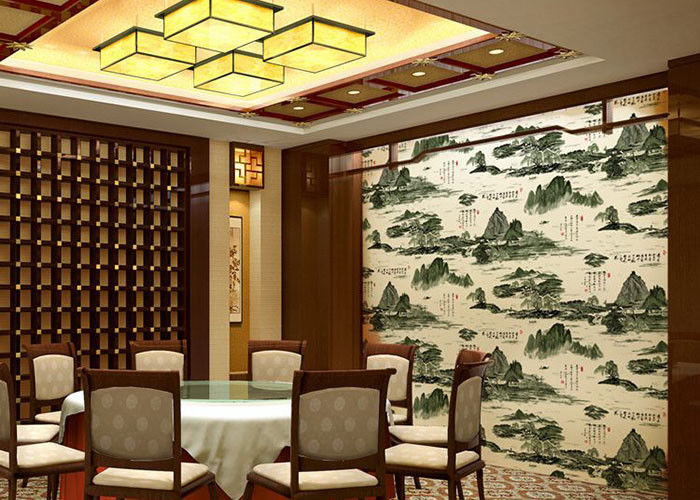 Non Pasted Strippable Asian Inspired Wallpaper For Hotel / TV Background