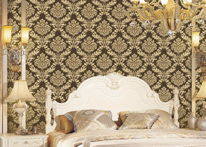 Classical Strippable Damask Wall Covering , Luxury Home Decoration Wall Covering