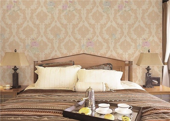Simple Beautiful Flower Living Room Wallpaper Coverings With CE / ISO / SGS / CS