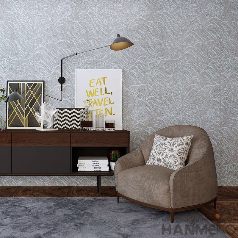 Strippable Plant Fiber Particle Interior Wallpaper 0.53*10M Grey Color