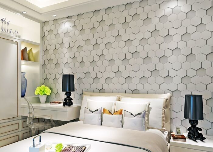 Greywhite Removable Modern 3D Wallpaper for Living Room 1500g Mould Proof