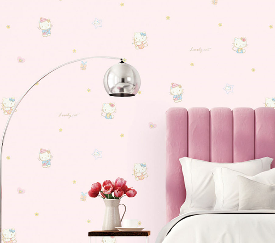 CE certificate Economical Hello Kitty Carton Wallpaper Kids Bedroom Decoration Wallcovering