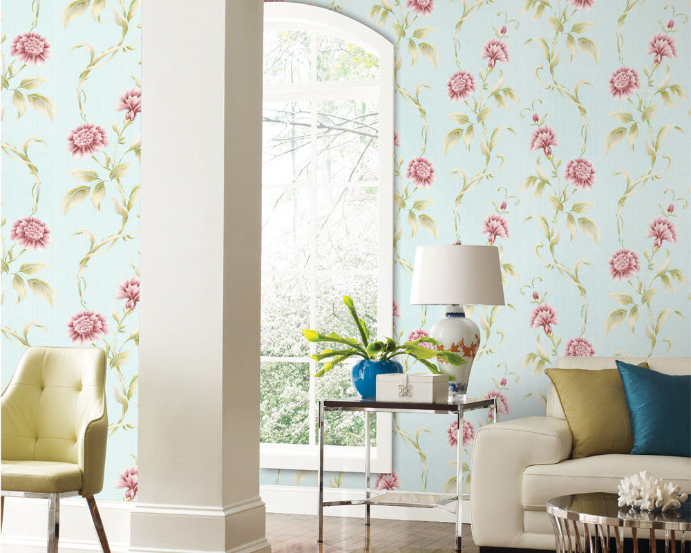 TV Background Mould-Proof Modern Removable Flowers Wallcovering Wallpaper Eco-Friendly