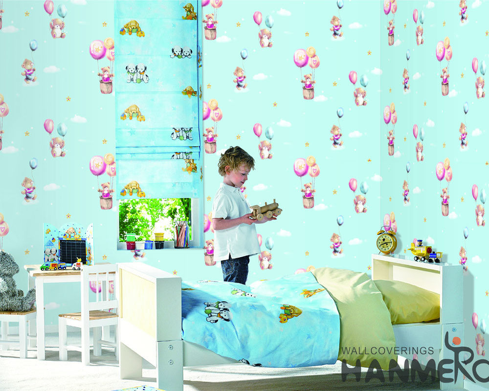Chinese Wallcovering Wholesaler Cartoon Design PVC Wallpaper Kids Bedroom Decor