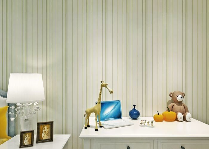Green Modern Striped Floral Wallpaper For Girl'S Room , Smooth Surface Paper